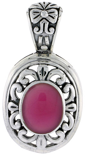 "Sterling Silver Oxidized Pendant, w/ 12 x 10 mm Oval-shaped Purple Resin, 1 1/2"" (38 mm) tall"