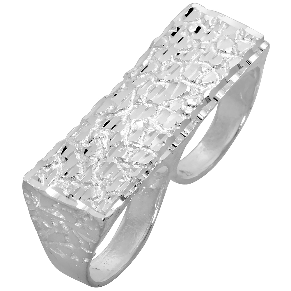 Sterling Silver Two Finger Nugget Ring 9/16 inch wide, sizes 8 - 13