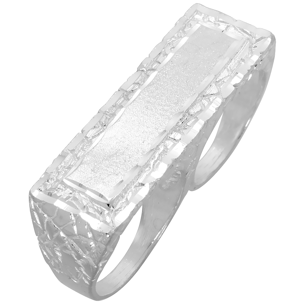 Sterling Silver Two Finger Nugget Signet Ring 9/16 inch wide, sizes 8 - 13