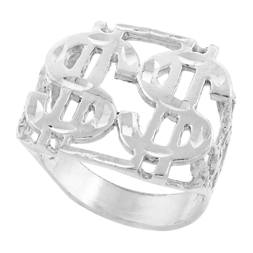 Sterling Silver Double Dollar Sign Ring Diamond Cut Finish 15/16 inch wide, sizes 8 - 13