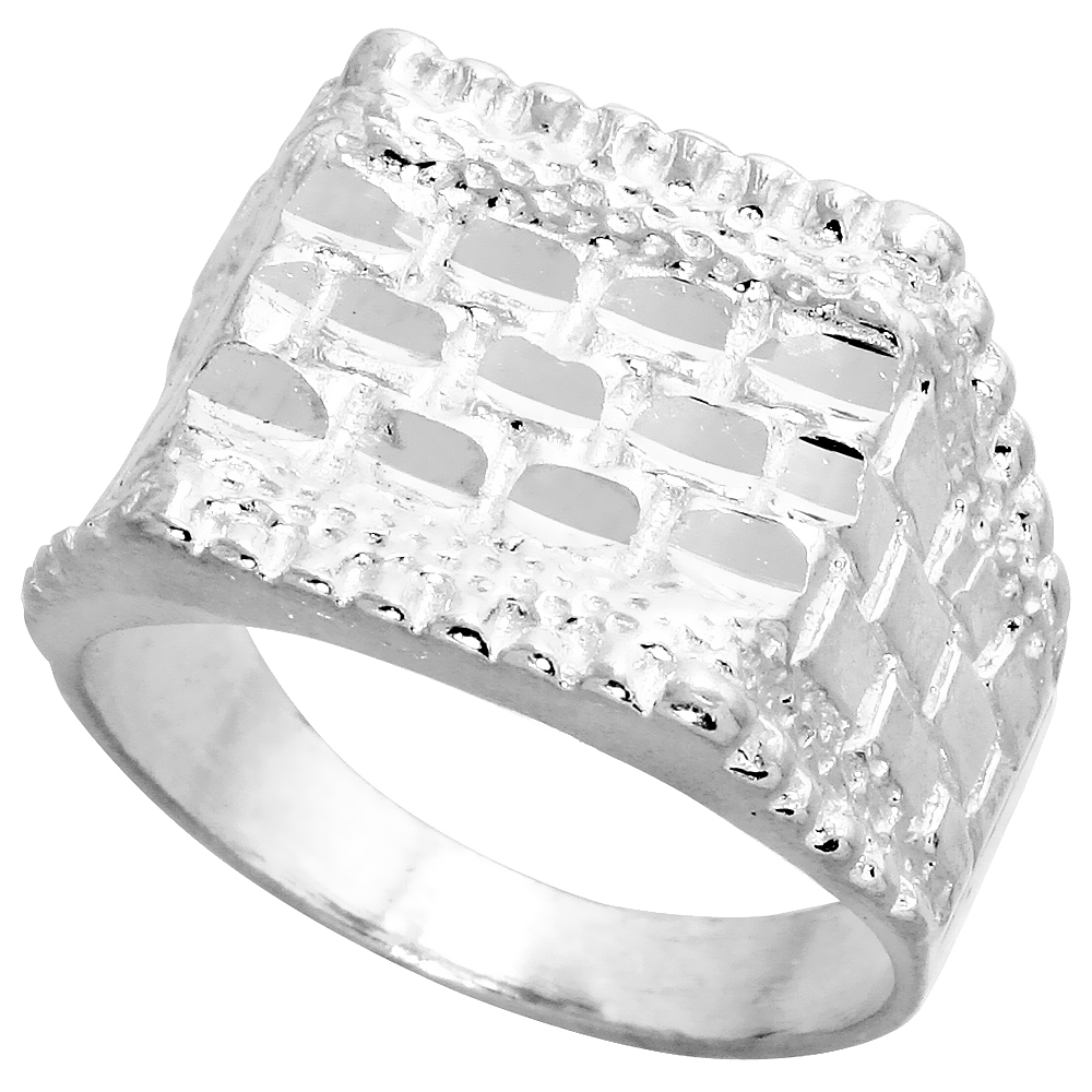 Sterling Silver Square Nugget Ring Diamond Cut Finish 1 inch wide, sizes 8 - 13