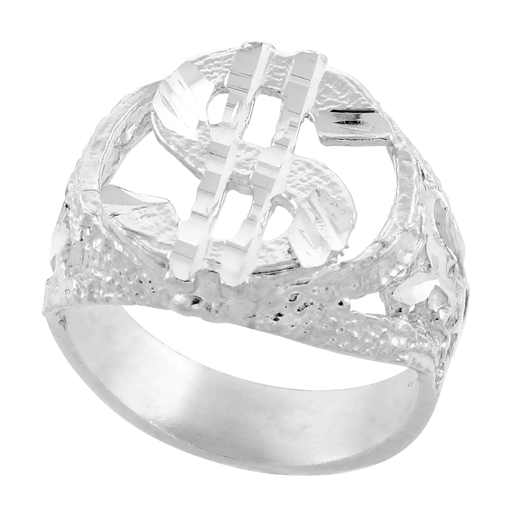 Sterling Silver Nugget Dollar Sign Ring Diamond Cut Finish 3/4 inch wide, sizes 8 - 13