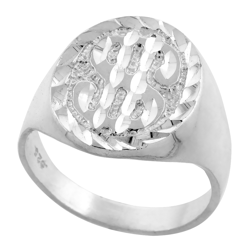 Sterling Silver Nugget Dollar Sign Ring Oval Diamond Cut Finish 3/4 inch wide, sizes 8 - 13