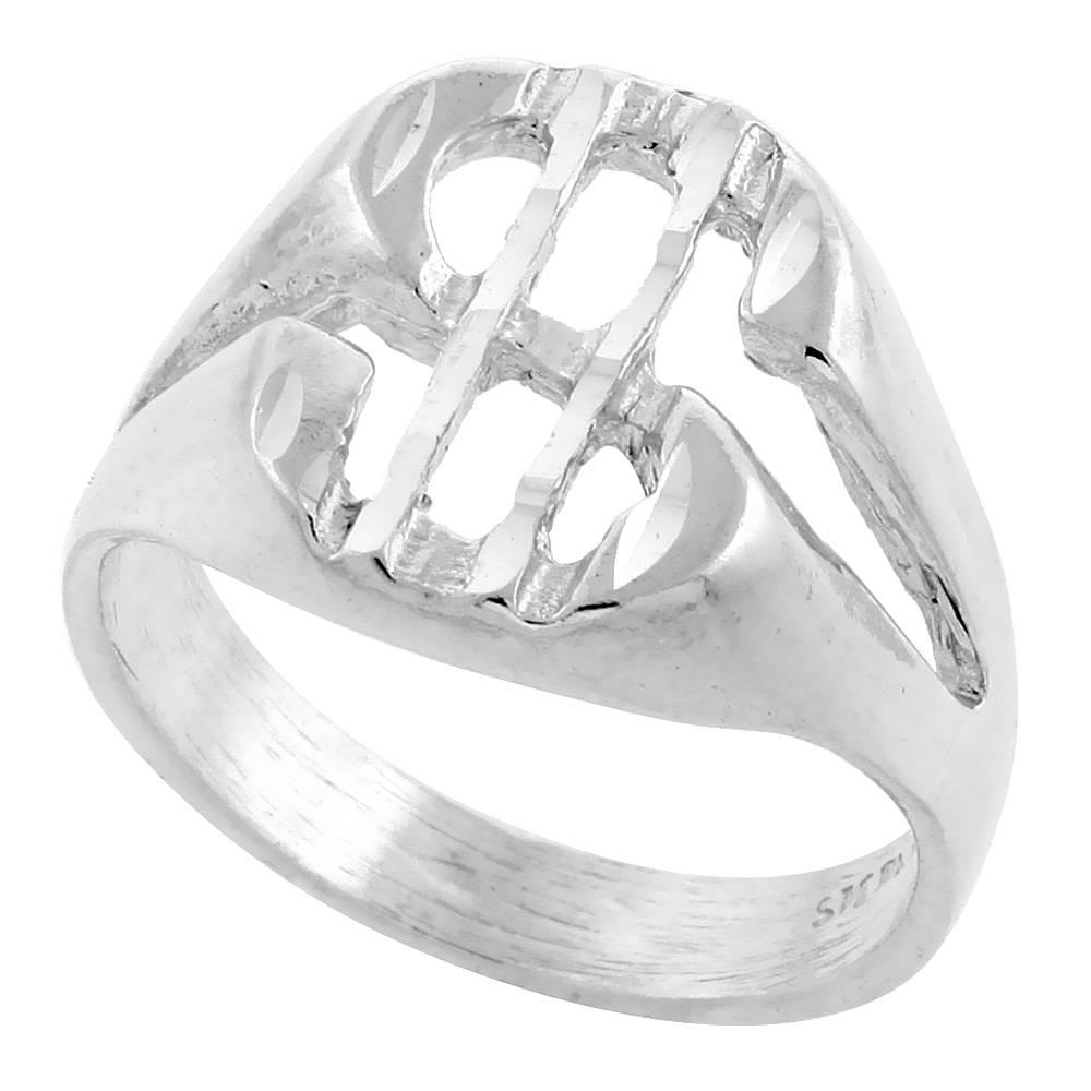 Sterling Silver Dollar Sign Ring Oval Shape Diamond Cut Finish 9/16 inch wide, sizes 8 - 13
