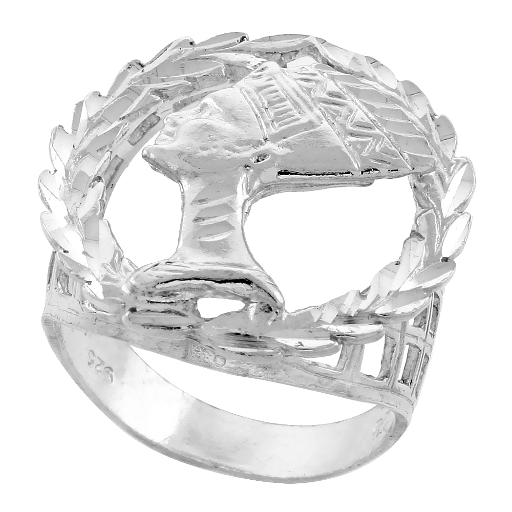 Sterling Silver Queen Nefertiti Ring Wreath Border Diamond Cut Finish 1 inch wide, sizes 8 - 13