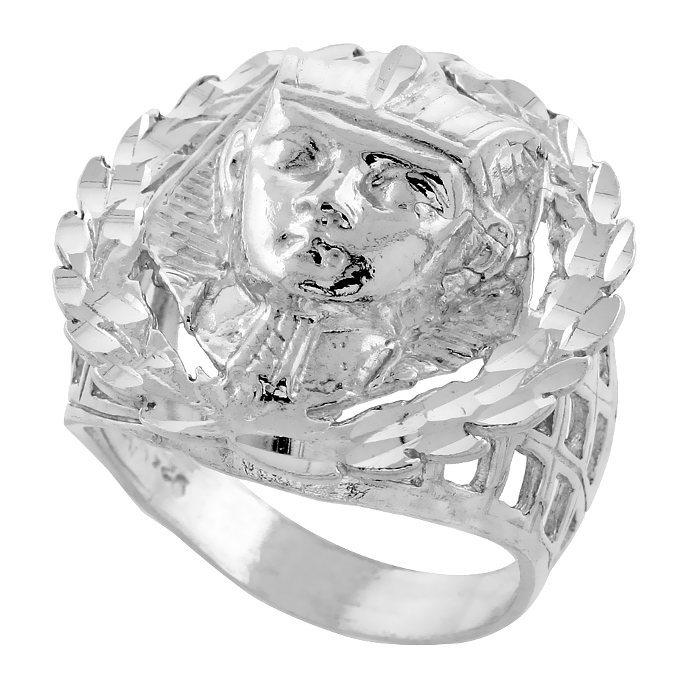 Sterling Silver King Tut Ring Wreath Border Diamond Cut Finish 1 inch wide, sizes 8 - 13