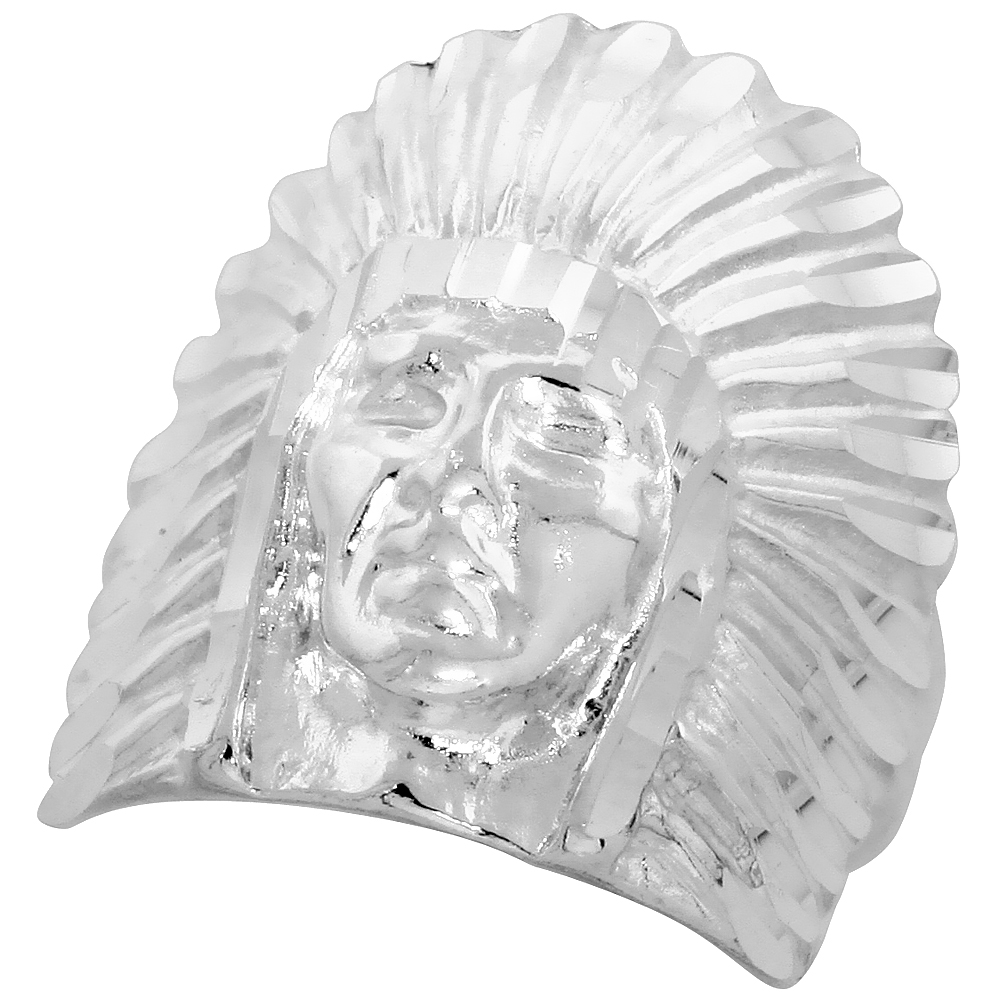 Sterling Silver Indian Head Ring large Bonnet Diamond Cut Finish 15/16 inch wide, sizes 8 - 13