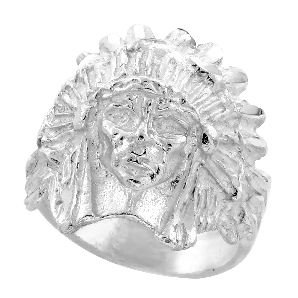 Sterling Silver Indian Chief Ring Bonnet Diamond Cut Finish 7/8 inch wide, sizes 8 - 13
