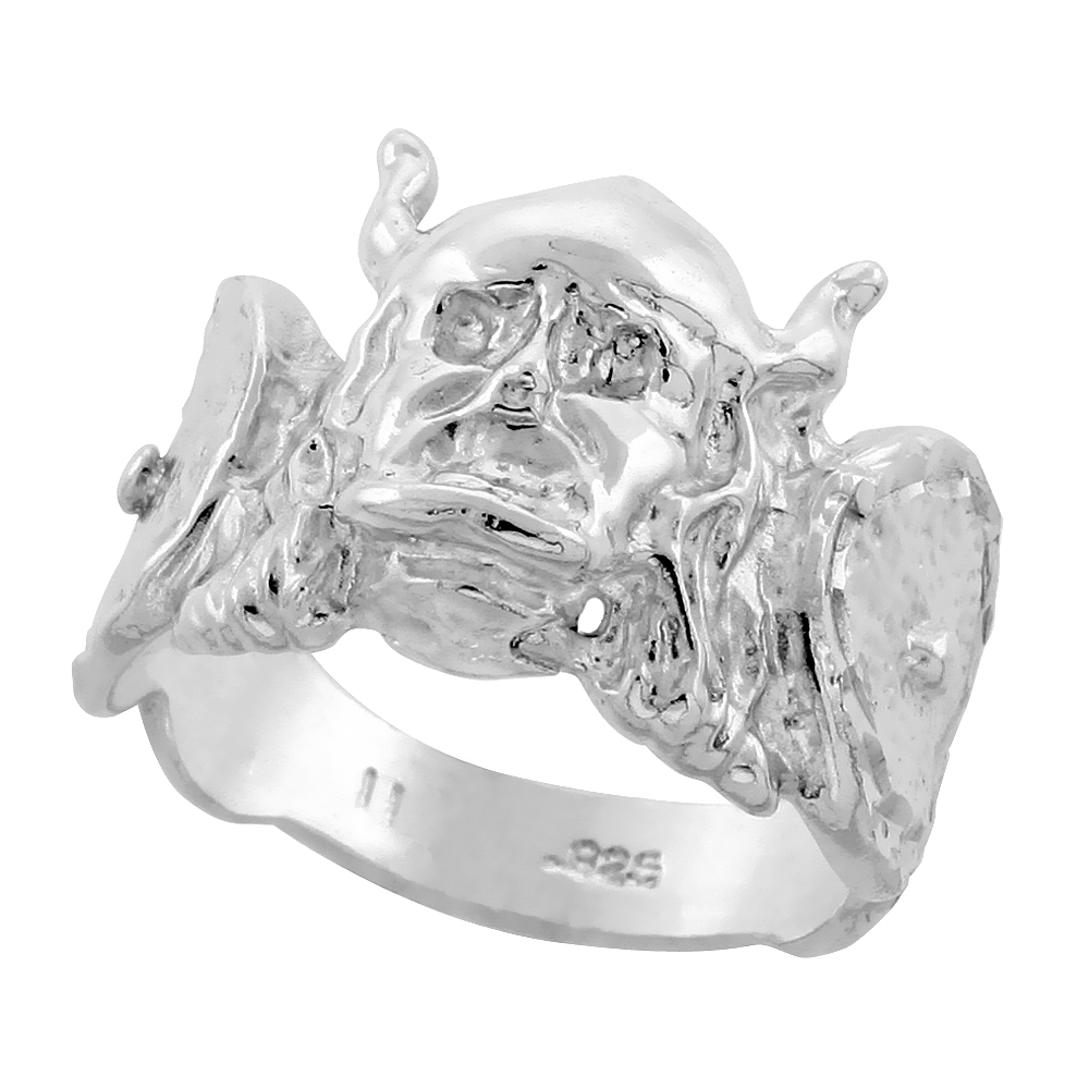 Sterling Silver Viking Ring Diamond Cut Finish 5/8 inch wide, sizes 8 - 13