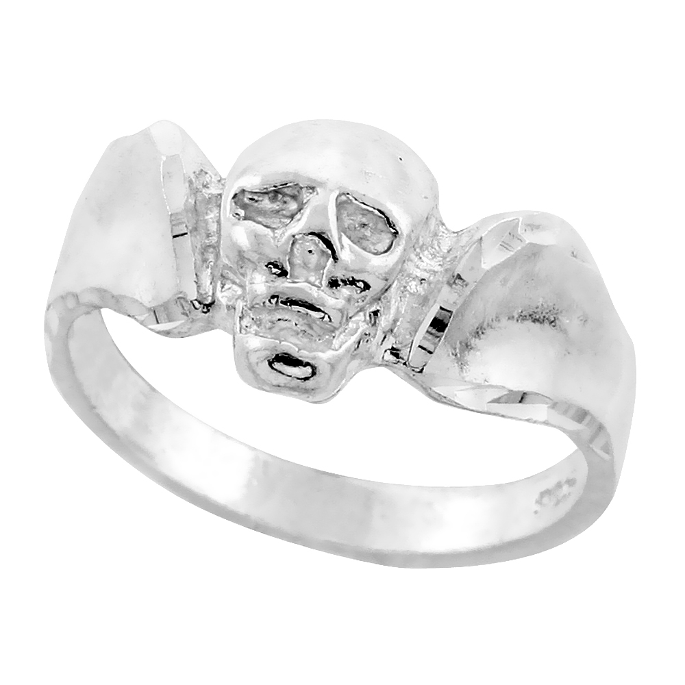 Sterling Silver Skull Ring Diamond Cut Finish 7/16 inch wide, sizes 8 - 13