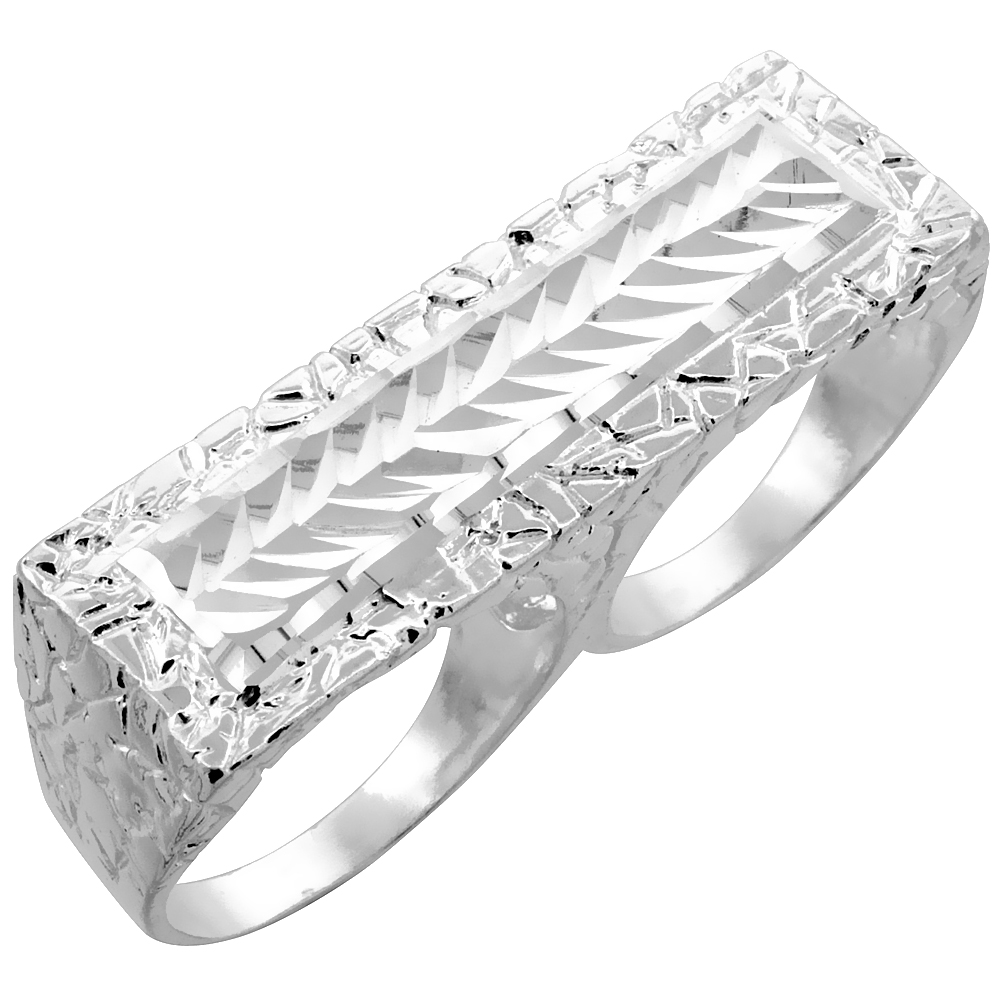 Sterling Silver Double Finger Nugget Ring Diamond Cut Finish 9/16 inch wide,