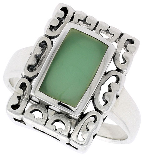 Sterling Silver Ring, w/ 10 x 6 mm Rectangular Green Resin, 3/4 inch (18 mm) wide