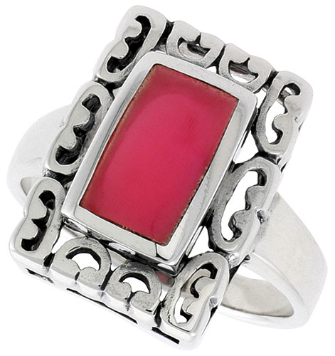 Sterling Silver Ring, w/ 10 x 6 mm Rectangular Red Resin, 3/4 inch (18 mm) wide