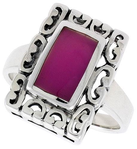 Sterling Silver Ring, w/ 10 x 6 mm Rectangular Purple Resin, 3/4 inch (18 mm) wide
