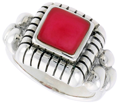 Sterling Silver Ring, w/ 8mm Square-shaped Red Resin, 1/2 inch (13 mm) wide