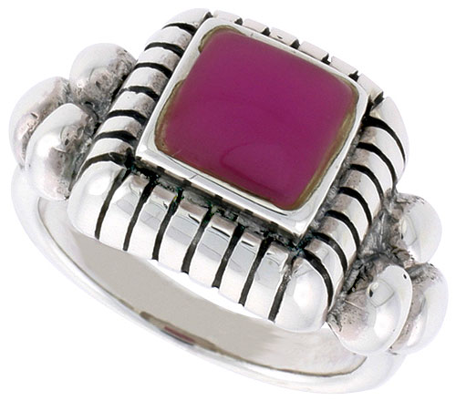 Sterling Silver Ring, w/ 8mm Square-shaped Purple Resin, 1/2 inch (13 mm) wide