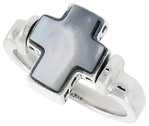 Sterling Silver Cross Ring w/ Mother of Pearl, 1/2 inch (12 mm) wide