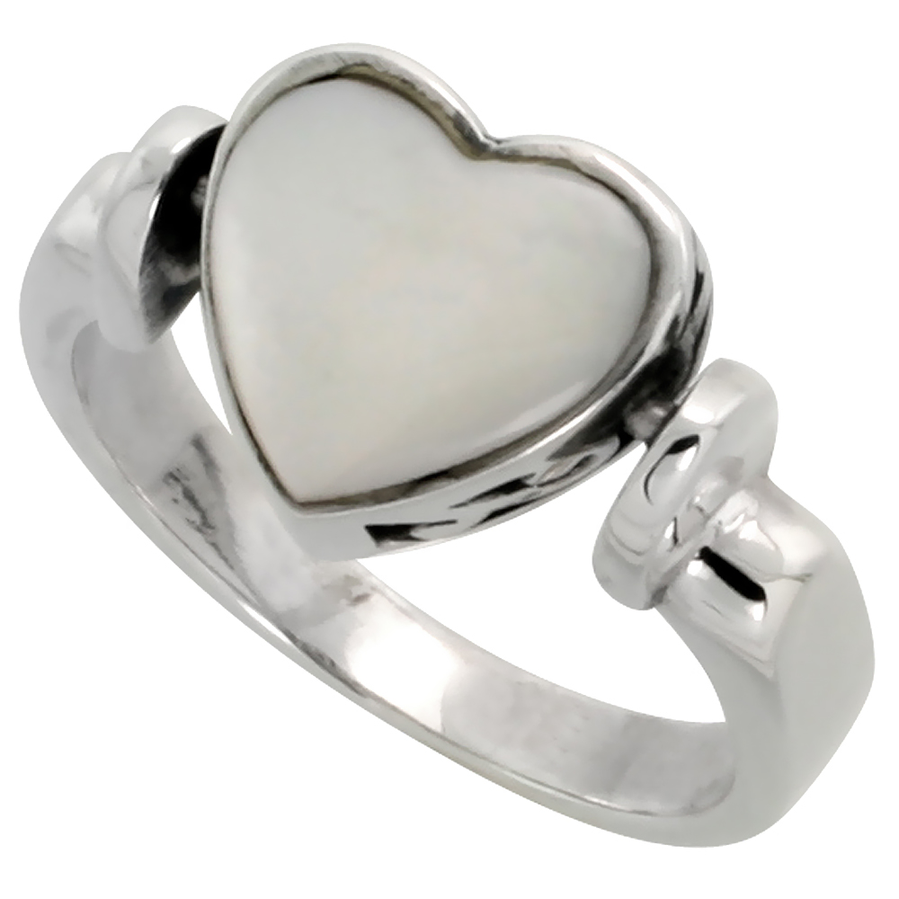 Sterling Silver Heart Ring w/ Mother of Pearl, 3/8 inch (10 mm) wide