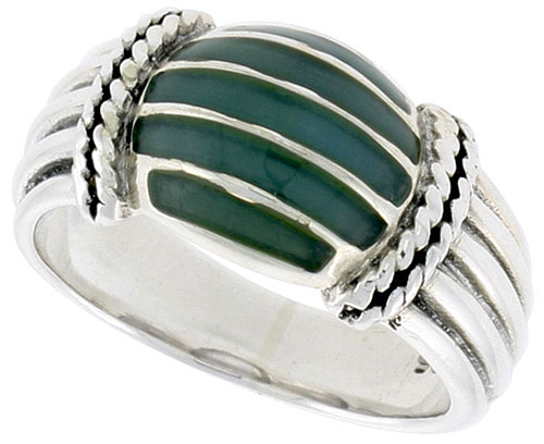 Sterling Silver Dome Ring, w/ Green Resin, 3/8 inch (10 mm) wide