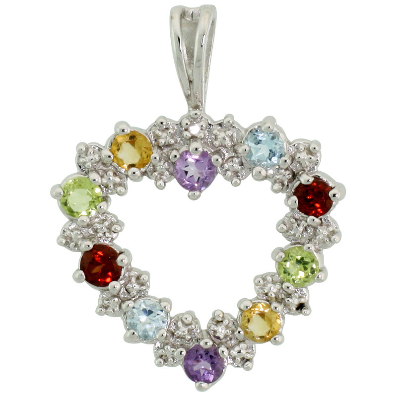 "Sterling Silver Cut Out Heart Pendant w/ 3mm Brilliant Cut Natural Multi-Color Gem Stones, 13/16"" (21 mm) tall; w/ 18 in. Box Chain"
