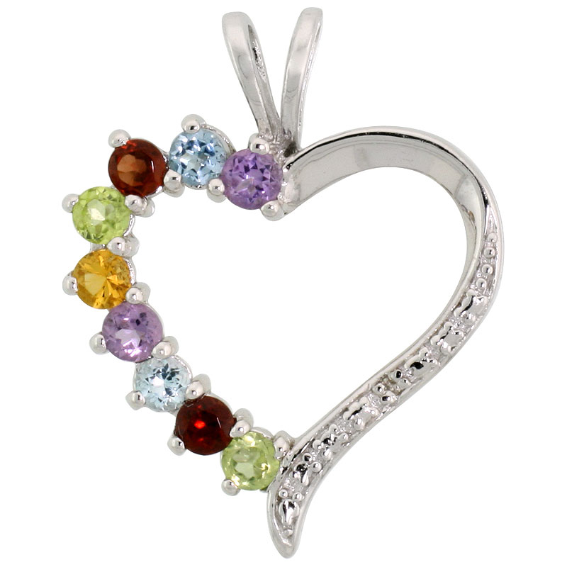"Sterling Silver Cut Out Heart Pendant w/ 3mm Brilliant Cut Natural Multi-Color Gem Stones, 7/8"" (22 mm) tall; w/ 18 in. Box Chain"