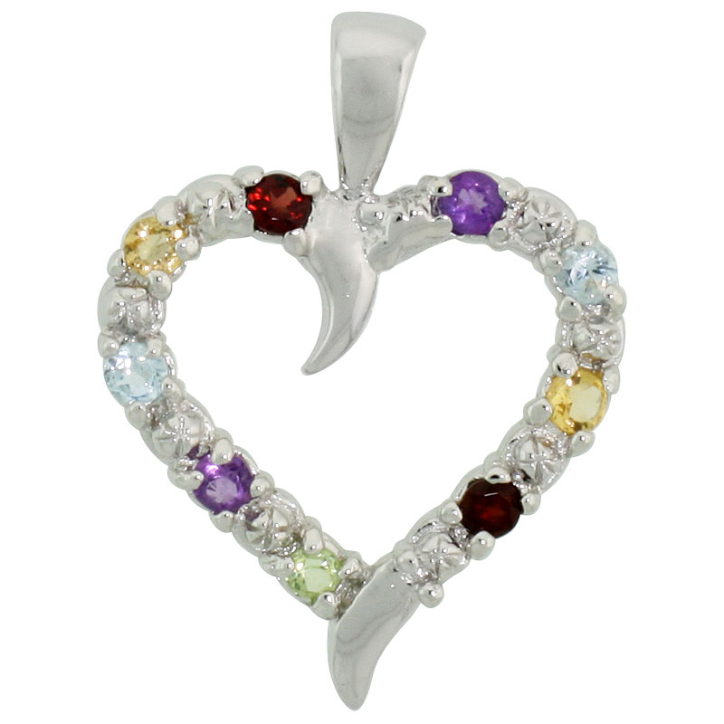 "Sterling Silver Cut Out Heart Pendant w/ 3mm Brilliant Cut Natural Multi-Color Gem Stones, 3/4"" (19 mm) tall; w/ 18 in. Box Chain"