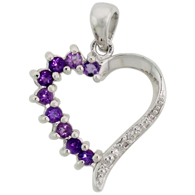 "Sterling Silver Cut Out Heart Pendant w/ 2mm Brilliant Cut Natural Amethyst Stones, 3/4"" (19 mm) tall; w/ 18 in. Box Chain"