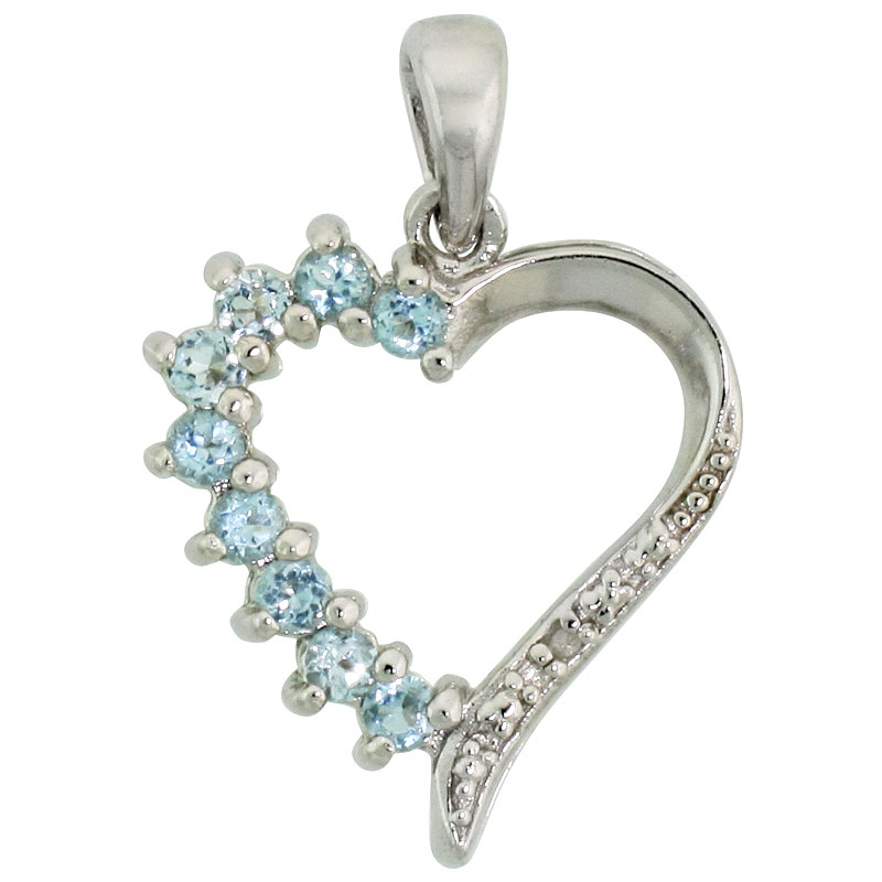 "Sterling Silver Cut Out Heart Pendant w/ 2mm Brilliant Cut Natural Blue Topaz Stones, 3/4"" (19 mm) tall; w/ 18 in. Box Chain"