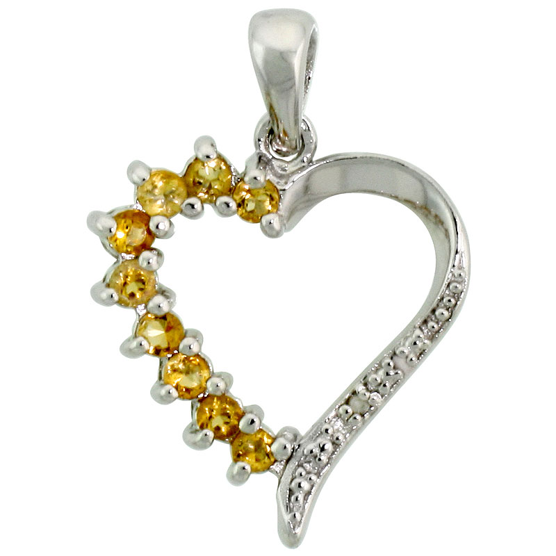 "Sterling Silver Cut Out Heart Pendant w/ 2mm Brilliant Cut Natural Citrine Stones, 3/4"" (19 mm) tall; w/ 18 in. Box Chain"