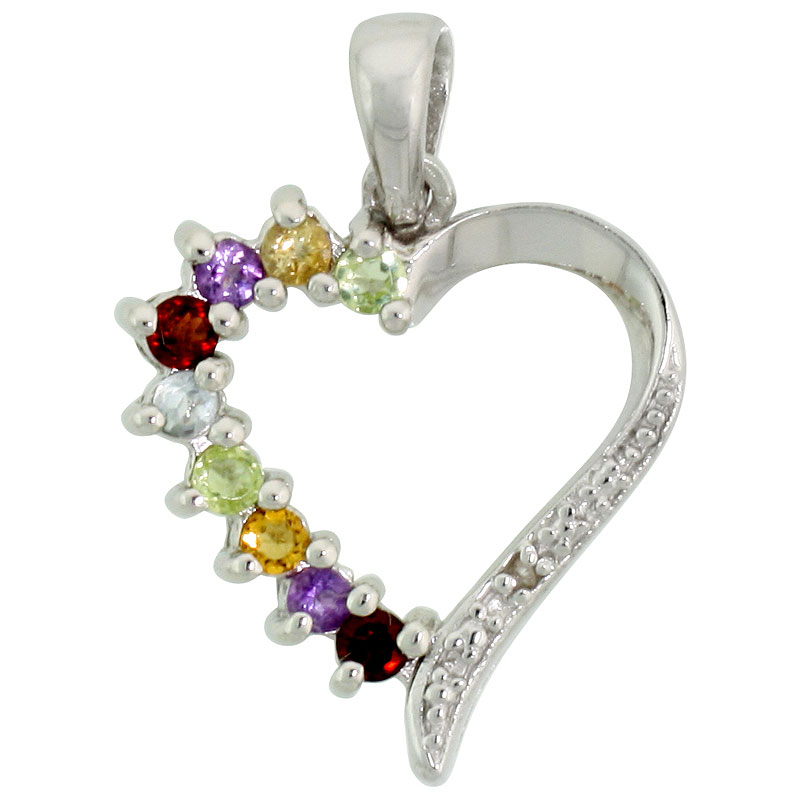 "Sterling Silver Cut Out Heart Pendant w/ 2mm Brilliant Cut Natural Multi-Color Gem Stones, 3/4"" (19 mm) tall; w/ 18 in. Box Chain"