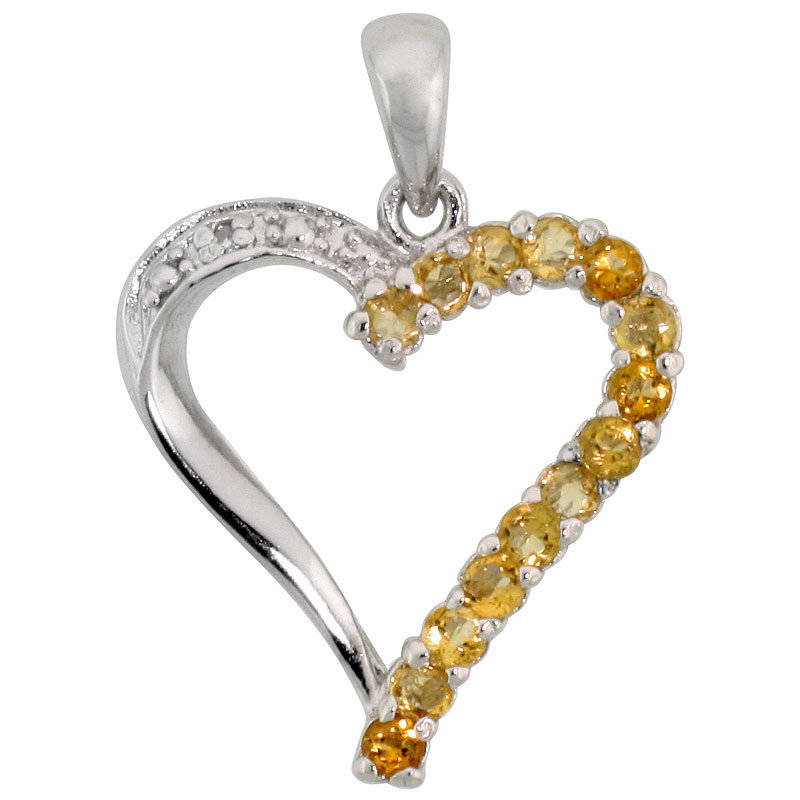 "Sterling Silver Cut Out Heart Pendant w/ 2mm Brilliant Cut Natural Citrine Stones, 13/16"" (21 mm) tall; w/ 18 in. Box Chain"
