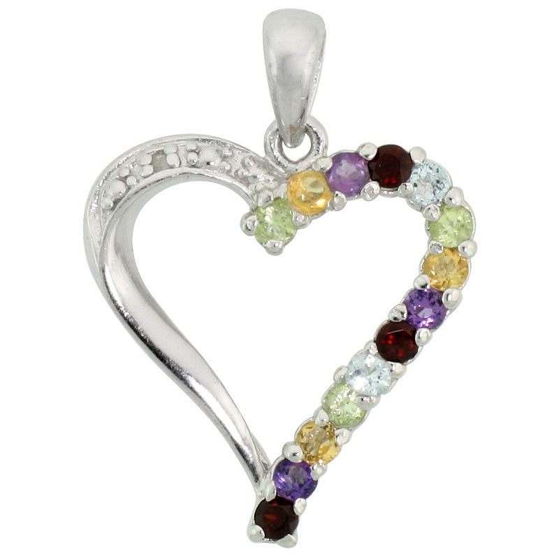 "Sterling Silver Cut Out Heart Pendant w/ 2mm Brilliant Cut Natural Multi-Color Gem Stones, 13/16"" (21 mm) tall; w/ 18 in. Box Chain"