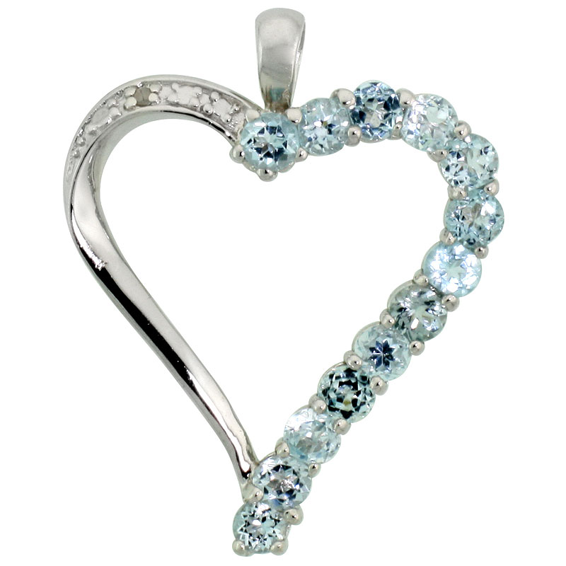 "Sterling Silver Cut Out Heart Pendant w/ 3mm Brilliant Cut Natural Blue Topaz Stones, 1"" (25 mm) tall; w/ 18 in. Box Chain"