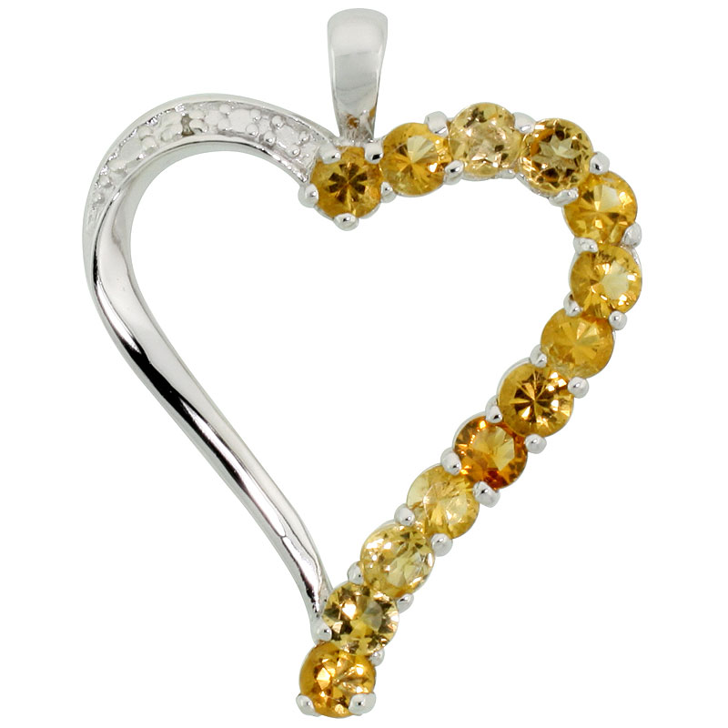 "Sterling Silver Cut Out Heart Pendant w/ 3mm Brilliant Cut Natural Citrine Stones, 1"" (25 mm) tall; w/ 18 in. Box Chain"