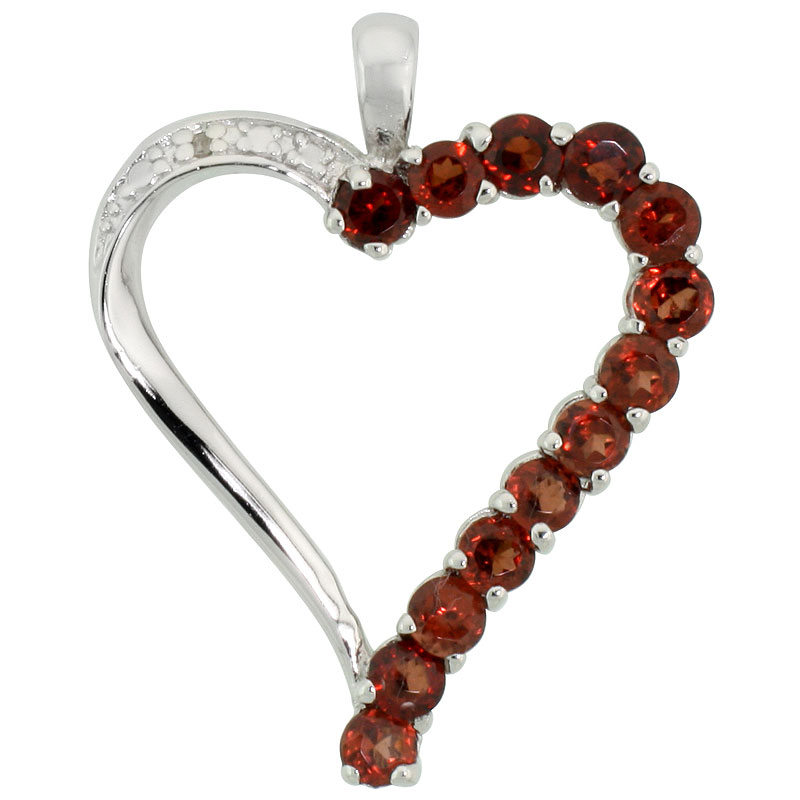 "Sterling Silver Cut Out Heart Pendant w/ 3mm Brilliant Cut Natural Garnet Stones, 1"" (25 mm) tall; w/ 18 in. Box Chain"