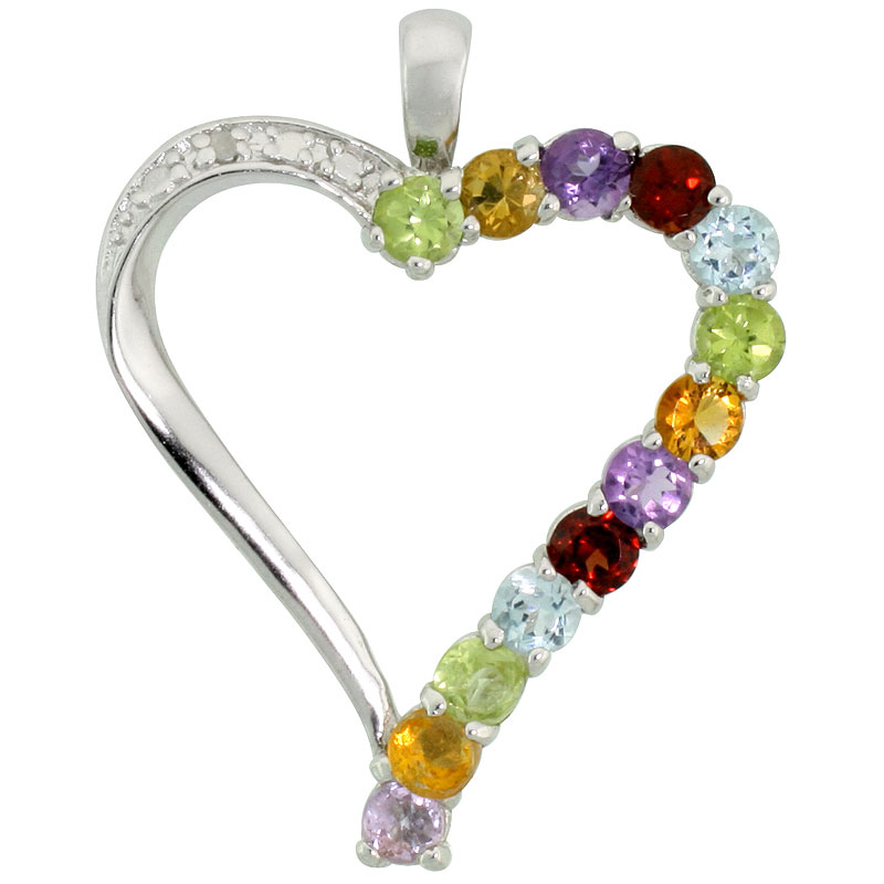 "Sterling Silver Cut Out Heart Pendant w/ 3mm Brilliant Cut Natural Multi-Color Gem Stones, 1"" (25 mm) tall; w/ 18 in. Box Chain"