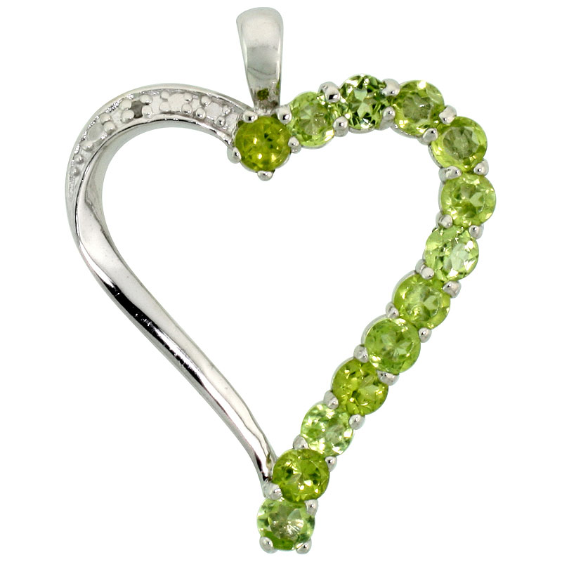 "Sterling Silver Cut Out Heart Pendant w/ 3mm Brilliant Cut Natural Peridot Stones, 1"" (25 mm) tall; w/ 18 in. Box Chain"