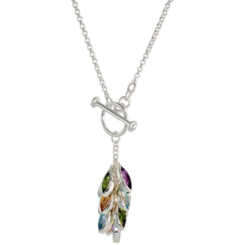 Sterling Silver Citrine Natural Peridot Amethyst Blue Topaz 6 cttw Gem Cluster Necklace, 16 inch long