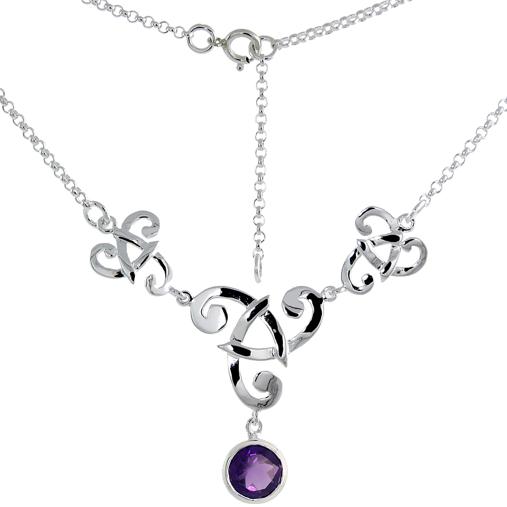 Sterling Silver Celtic Fish Trinity Triquetra Knot Necklace with Natural Amethyst, 16 inch long
