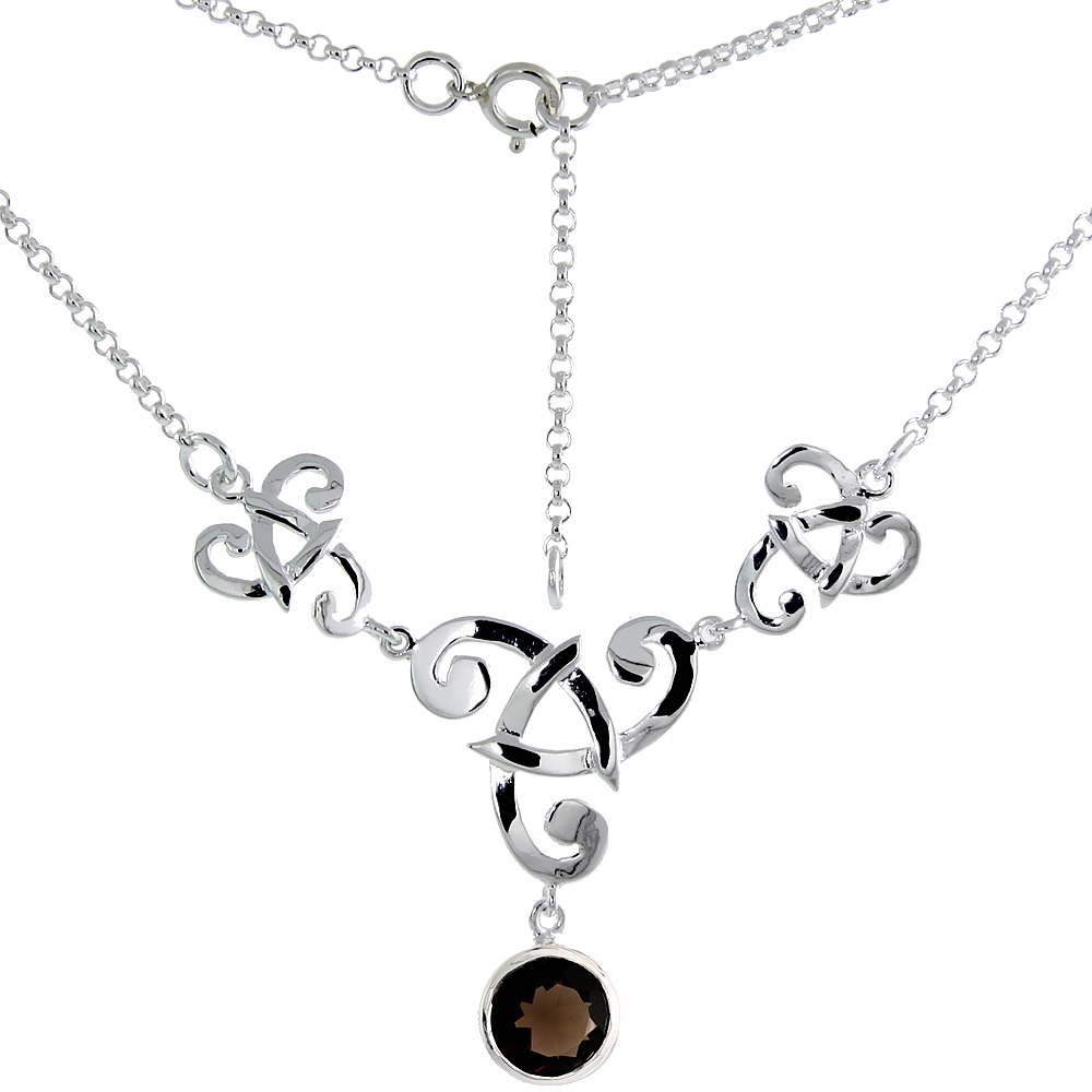 Sterling Silver Celtic Fish Trinity Triquetra Knot Necklace with Natural Smoky Topaz, 16 inch long