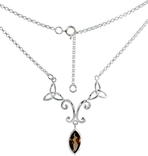 Sterling Silver Celtic Trinity Triquetra Knot Necklace with Natural Smoky Topaz, 16 inch long