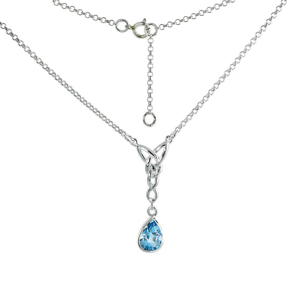 Sterling Silver Celtic Tear Drop Necklace with Natural Blue Topaz, 16 inch long