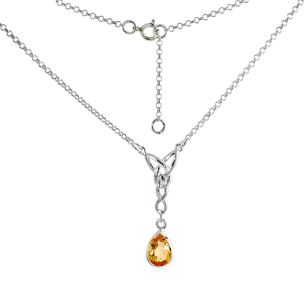 Sterling Silver Celtic Tear Drop Necklace with Natural Citrine 16 inch long