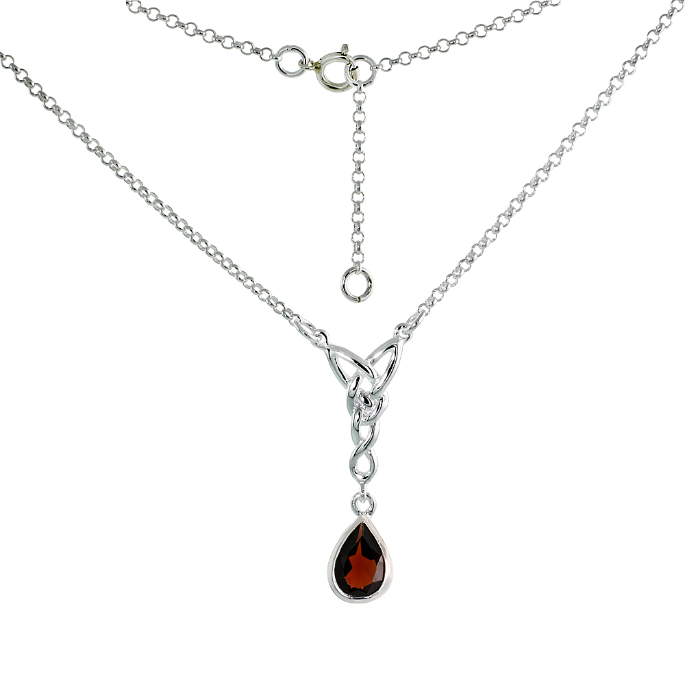 Sterling Silver Celtic Tear Drop Necklace with Natural Garnet 16 inch long