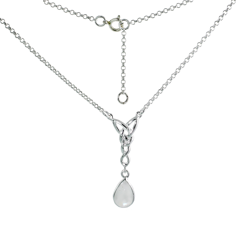Sterling Silver Celtic Tear Drop Necklace with Natural Moonstone, 16 inch long
