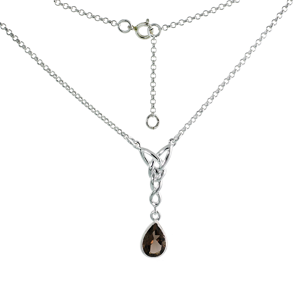 Sterling Silver Celtic Tear Drop Necklace with Natural Smoky Topaz, 16 inch long