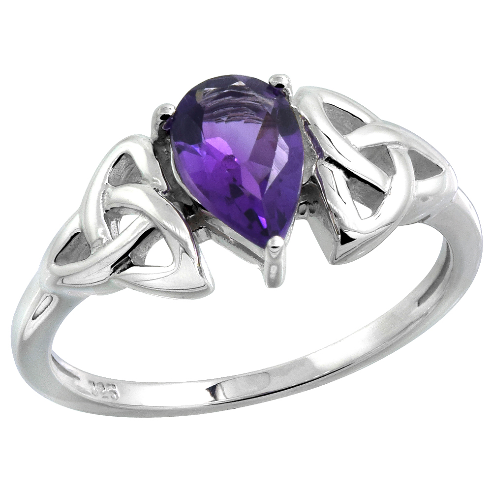 Sterling Silver Celtic Knot Trinity Ring with Natural Amethyst 5/16 inch wide, sizes 6 - 10