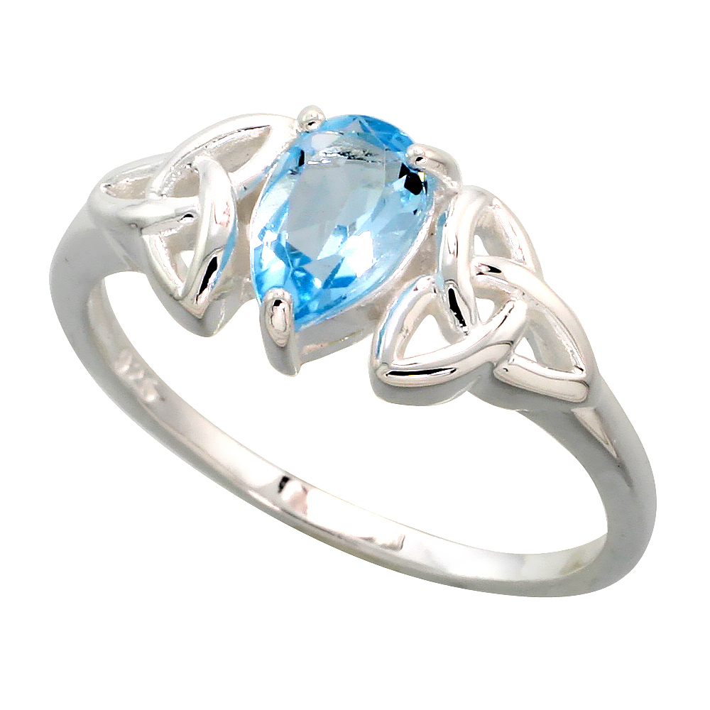 Sterling Silver Celtic Knot Trinity Ring 5/16 inch wide, sizes 6 - 10