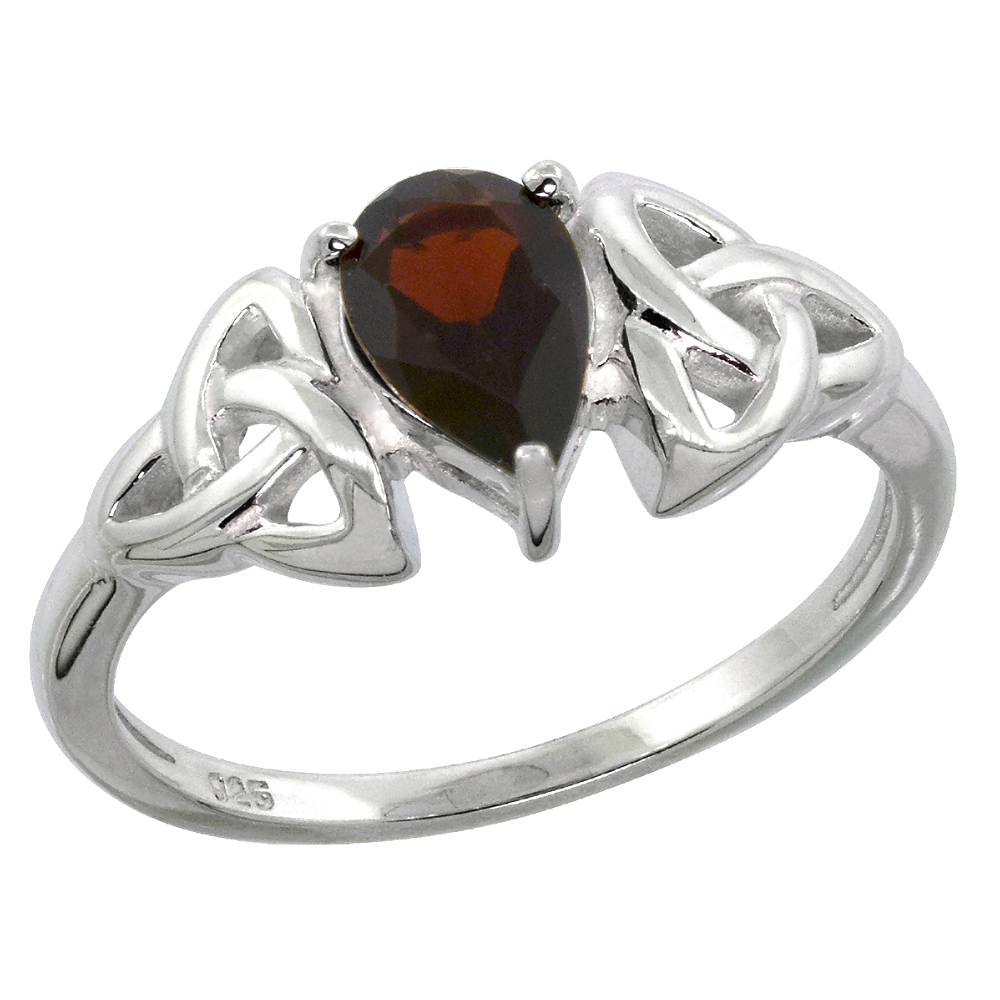 Sterling Silver Celtic Knot Trinity Ring with Natural Garnet 5/16 inch wide, sizes 6 - 10
