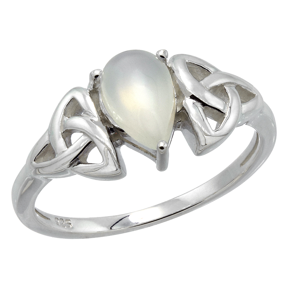 Sterling Silver Celtic Knot Trinity Ring with Natural Moonstone 5/16 inch wide, sizes 6 - 10